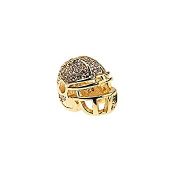 Calvas Copper Cubic Zirconia DIY Spacer Beads American Football Helmet Beads for Jewelry Making Fit Bracelet BD1064 -  Color  Gold