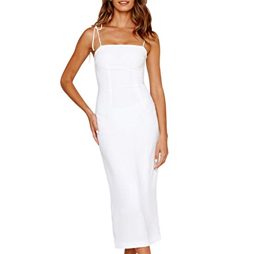 Sale!! Gergeos Women Sexy Slim Solid Off Shoulder Backless Sleeveless Straps Dress Long Party Dress(...