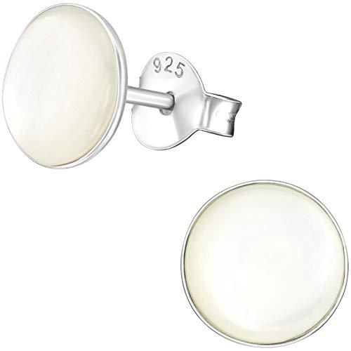 EYS Jewelry – Pendientes redondos de plata de ley 925 y nácar de 7 mm para mujer, en estuche de joyas