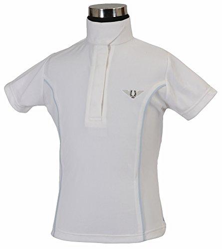 TuffRider Girl's Kirby Kwik Dry Short Sleeve Show Shirt, White/Glacier Blue, Small
