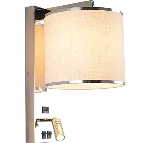 Lámpara de pared Lámpara de pared tradicional con interruptor doble Lámpara de noche con puerto USB Lámpara de lectura de acero inoxidable Brazo de lámpara ajustable Iluminación de pared Base E27, B