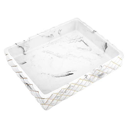 Emibele Harz Schmucktablett, Schmuck Organizer Schmuckablage für Badezimmer Küchen Kommode, Ring Schmuck Geschirr Kerze Parfüm Seife Shampoo Aufbewahrungsschale Ordnungsbox - Kies Weiß