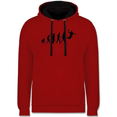 Shirtracer Evolution - Handball Evolution Herren - XS - Rot/Schwarz - Handball 176 - JH003 - Hoodie zweifarbig und Kapuzenpullover für Herren und Damen