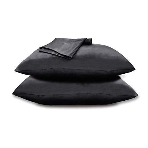 Zenssia Satin Kissenbezug Kissenhülle mit Reißverschluss Haar- und Hautpflege 2 Stücke, Schwarz, 80x80cm