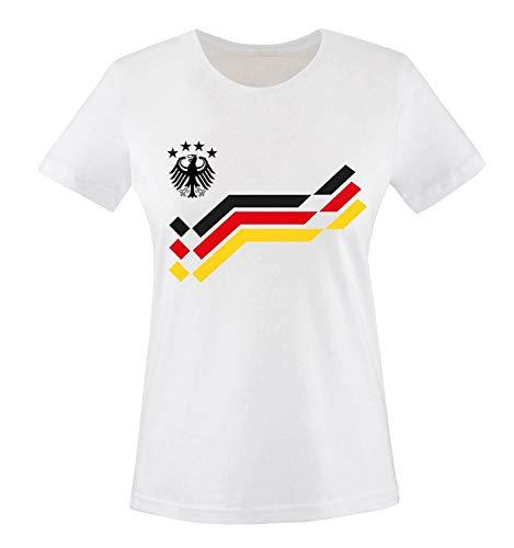 EM 2016 - Retro-Trikot - WUNSCHDRUCK - Damen T-Shirt - Weiss/Schwarz-Rot-Gelb Gr. S