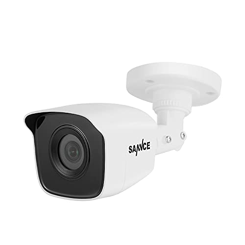 SANNCE 1080p Wired Home Security Camera with EXIR Night Vision, Bullet Cameras IP66 Waterproof for Outdoor Indoor Video Surveillance, Works with Third-Party DVR, White(1 Pack)