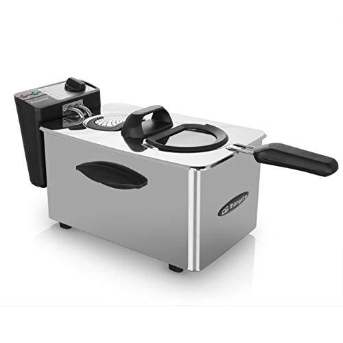Orbegozo FDR 45 - Freidora profesional, 4 L, termostato regulable, indicador luminoso, asa de tacto frío, recogecables, acero inoxidable, 2000 W