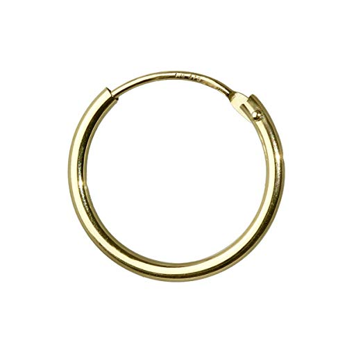 Nklaus 15mm Einzel 375 Gelbgold Creole Gold Ohrringen Ohrschmuck Goldohrringe 3756
