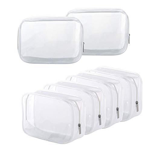Clear Toiletry Carry Pouch with Zipper Portable PVC Waterproof Cosmetic Bag for Vacation Travel Bathroom and Organizing (A)