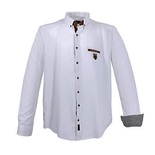 Lavecchia Modernes Herren Hemd mit Applikationen, 4XL, Weiß