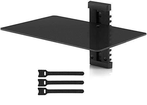 Floating Wall Mount Shelf - Single Floating DVD DVR Shelf – Holds up to 16.5lbs - Wall Mount AV Shelf Strengthened Tempered Glass – Perfect PS4, Xbox One, TV Box Cable Box PERLESMITH