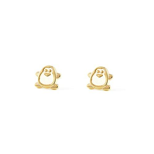 Orecchini per bambini pinguino - oro giallo 9k (375)