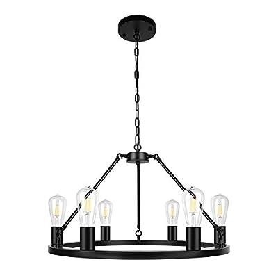 6-Light Black Farmhouse Modern Chandelier Metal Industrial Pendant Lighting for Kitchen Dinning Living Room Bedroom Foyer
