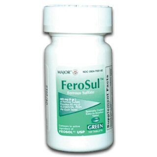 [3 PACK] FeroSul® 325mg (5GR) Ferrous Sulfate Coated Easy-To-Swallow 100 ct. Tablets (Green)