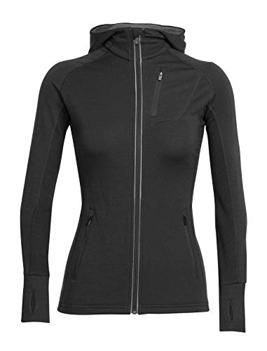 Icebreaker Merino Women's Quantum Long Sleeve Zip Hood, Black, Large