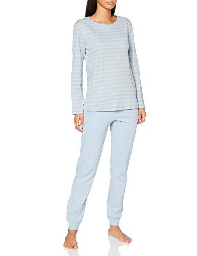 Marc O'Polo Body & Beach Damen W-LOUNGESET LS Crew-Neck Pyjamaset, blaugrau-Mel, XXL