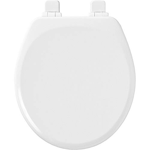 Mayfair 843SLOW 000 Slow-Close, Removable Enameled Wood Toilet Seat that will Never Loosen, 1 Pack Round, White