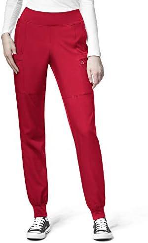 WonderWink 123 Women s Knit Waist Cargo Jogger Scrub Pants 5555 Red Large product image