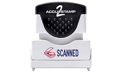 "ACCU-STAMP2 Message Stamp with Shutter, 2-Color, SCANNED, 1-5/8"" x 1/2"" Impression, Pre-Ink, Blue and Red Ink (035606)"