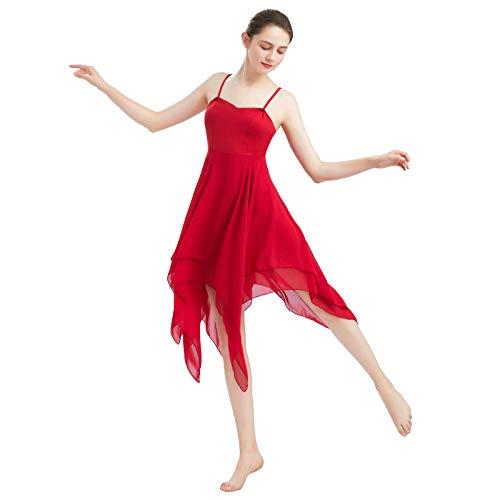 FYMNSI Frauen Damen Lyrisches Tanzkleid Modern Contemporary Tanzkleidung Irregulär Trägerkleid Chiffon Rock Ballett Lyrisch Tanz Kleid Bühnenanzug Kostüm Lyrical Dancewear Rot L