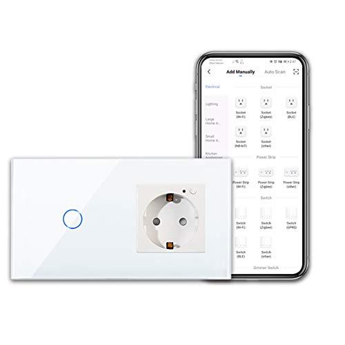 CNBINGO WLAN Steckdose und Smart Lichtschalter - 1-Fach Touchschalter und Schuko Steckdose Arbeit mit Alexa/Google Home, Smart Life App Steuerung - mit Glas Panel - Neutralleiter Wird Benötigt