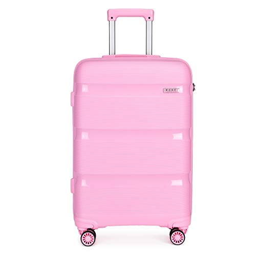Kono 55x40x21cm Cabin Hand Luggage Hard Shell Travel Trolley 4 Spinner Wheels Lightweight Polypropylene Carry On Suitcase with TSA Lock 40L (Pink)