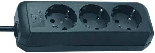 Brennenstuhl Eco-Line regleta de enchufes con 3 tomas de corriente (cable de 1.5 m, sin interruptor) negro