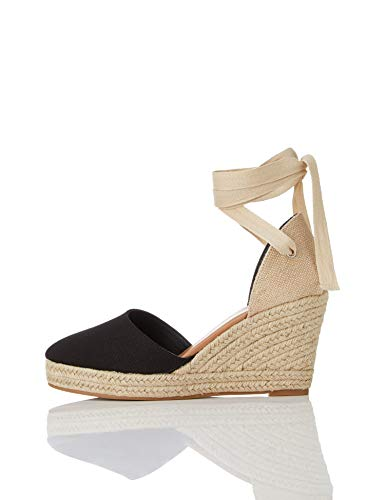 Marca Amazon - find. Wedge Close Toe Canvas Espadrille Sandalias Punta Cerrada, Negro Black, 38 EU