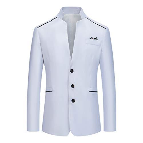 Yowablo Herren Slim Anzugsakko Herren Anzugjacke Herren Sakko Sweatjacke Slim Fit Blazer Anzug Casual Jacke Modisch Freizeit Outwear (XL,Weiß)