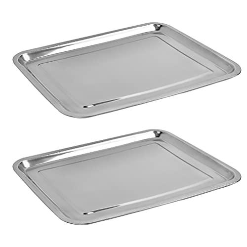 2 Stück rechteckige Edelstahlschale Backblech, Edelstahl Ofenblech Kuchenblech, 40 x 30 x 2cm, Rechteckige Fettpfanne Backofen Tablett zum Backen & Servieren - Ungiftig &Gesund, Leicht zu