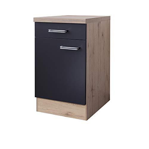 MMR Küchen-Unterschrank LONDON - Küchenschrank - 1-türig - 1 Schublade - Breite 50 cm - Anthrazit