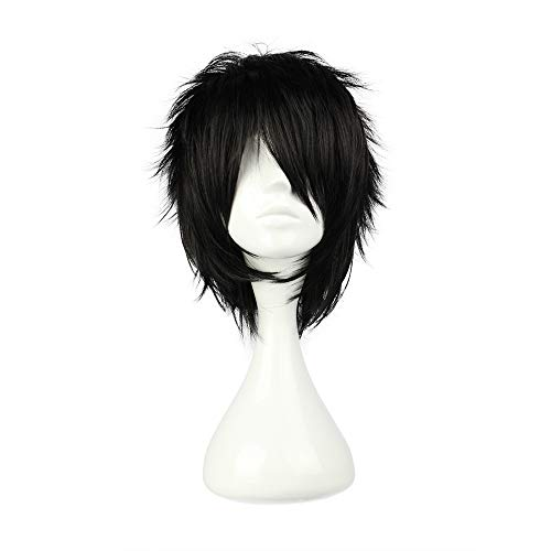 COSPLAZA Cosplay Costume Wigs Perruque Short Rock Spiky raide noire 30cm Party Halloween Cheveux