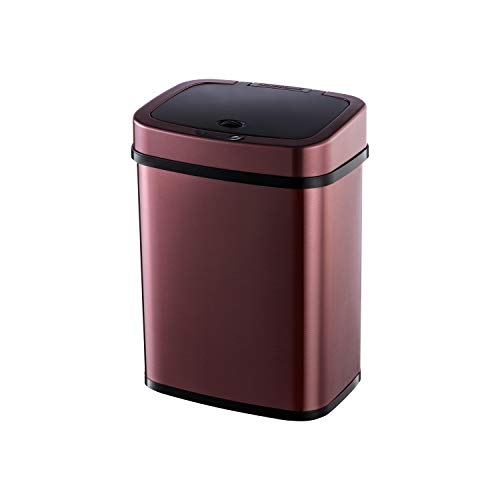 Ninestars Bedroom or Bathroom Automatic Touchless Infrared Motion Sensor Trash Can, 3 Gal 12L, Stainless Steel Base (Rectangular, Burgundy/Black Lid)
