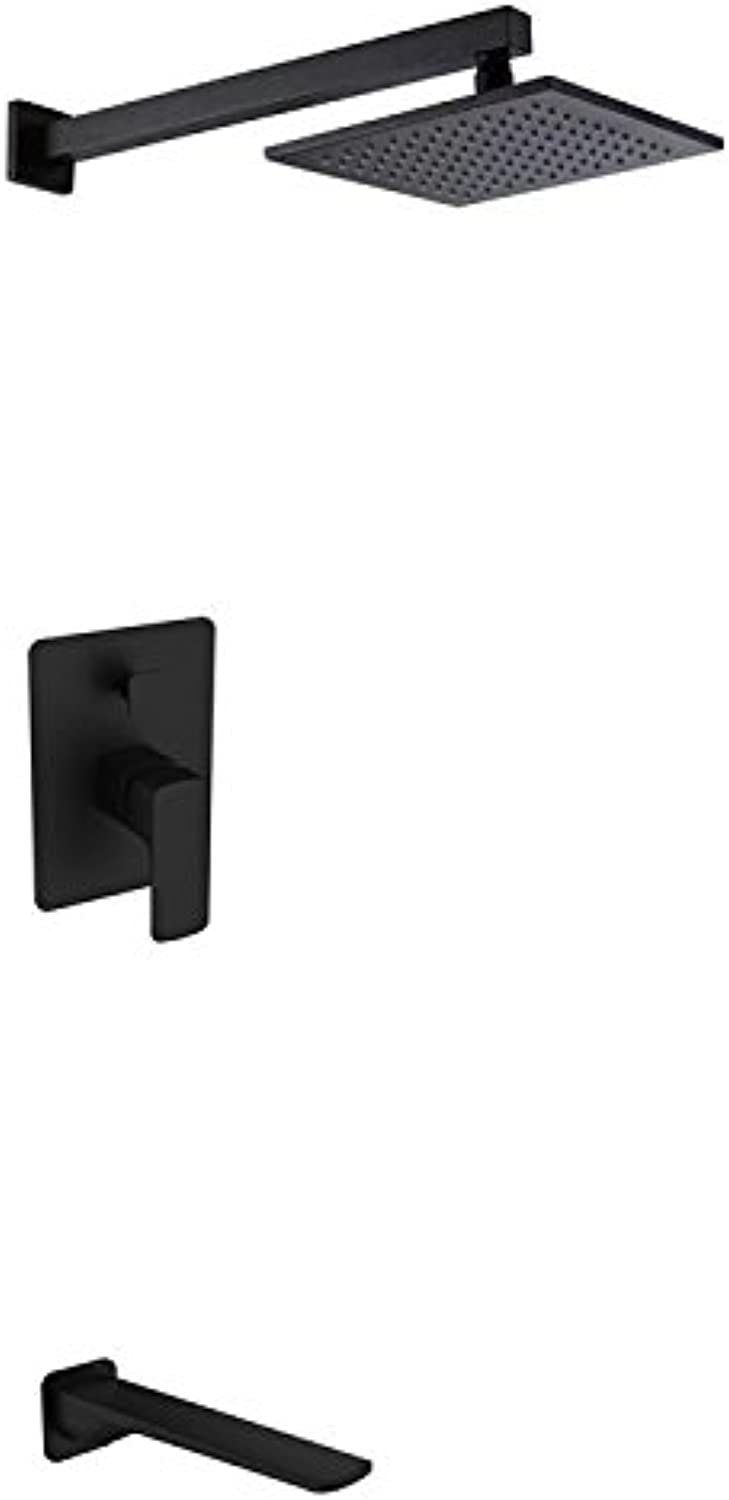 FEN Concealed black shower faucet into the wall electroplating bathroom shower set hot and cold water mixing valve