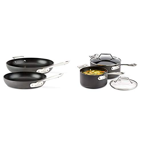 All-Clad E7859064 HA1 Hard Anodized Nonstick Fry Pan Cookware Set, 10 inch and 12 inch Fry Pan, 2 Piece, Black & Essentials Nonstick Saucepan set, 4-Piece, Grey