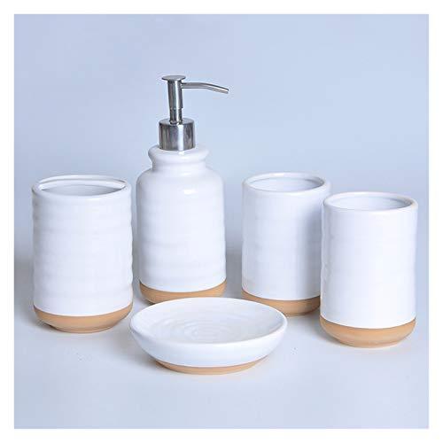 Agal Accesorios De Baño De Cerámica Blanca Conjunto De 4/5/6 Piezas con Dispensador De Jabón, Soporte De Cepillo De Dientes, Jabonera (Color : 5-Piece Bathroom Set)