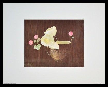 Germanposters Heide Dahl Poster Kunstdruck Bild Anemonen mit Klee im Alu Rahmen in schwarz 36x30cm