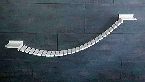 Jennys Tiershop Weiß. Katzen Wandpark, Handgefertigte Tiermöbel/Luxusmöbel, Katzenmöbel in Vielen Ausführungen, Kratzbaum/Hängematte für die Wand. Hier: Hängebrücke 170 x 20 cm weiß (142u4)