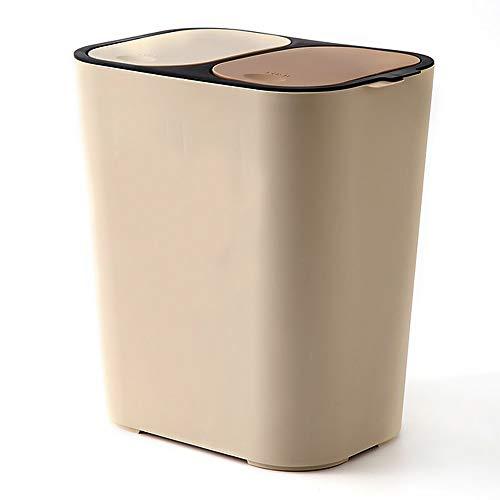 Liang's Treasures Cubo de basura de reciclaje, 2 cubos de basura de 23 L, doble compartimento para separación de residuos, a prueba de huellas dactilares(beige)