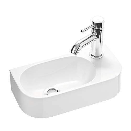 Gäste WC Waschbecken PARK 40x20 cm aus Mineralguss für Wandmontage oder Aufsatzwaschbecken mit Hahnloch Rechts