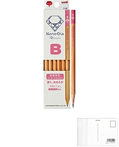 三菱鉛筆 かきかた鉛筆 ナノダイヤ 木軸 B ピンク 1ダース K6907B + 画材屋ドットコム ポストカードA