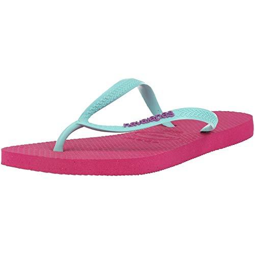 Havaianas Damen Slim Logo Zehentrenner, Pink (Hollywood Rose/Ice Blue 2397), 37/38 EU