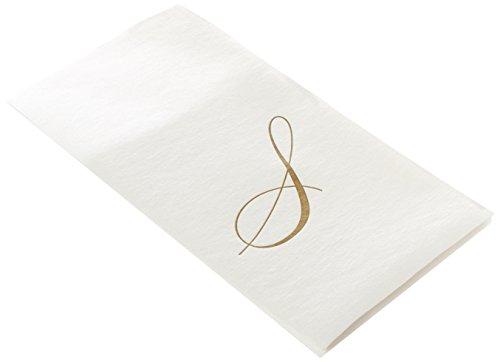 Caspari Entertaining with Confezione da 24 Asciugamani di Carta per Gli Ospiti con Iniziale S, Colore: Bianco Perla