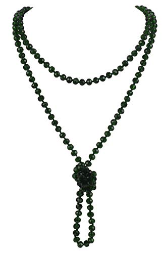 Firstmeet Fashion Glass Beads Rope Knot Long Necklace for Women (XL-1030-Dark Green)