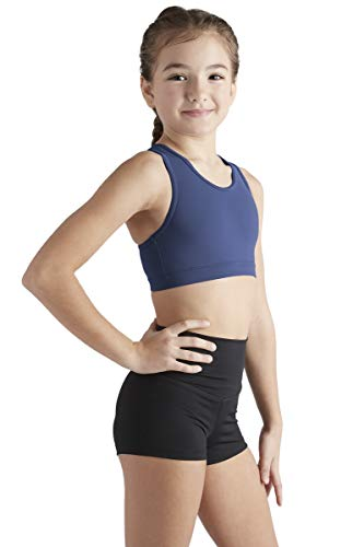 Liakada Girls Stylish & Supportive Basic Sports Bra with Integrated Bra Shelf Liner Dance, Gym, Yoga, Cheer! Navy