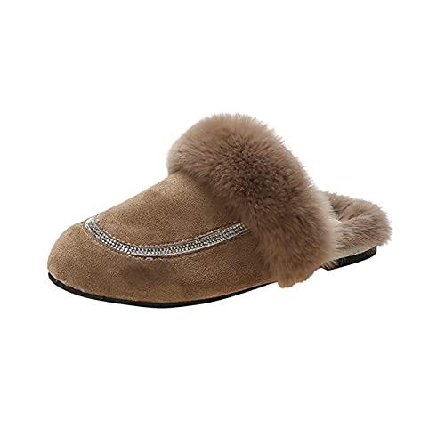 URIBAKY - Zapatillas de exterior para mujer, transpirables, color puro, antideslizantes, para interior y exterior, cálidas, de peluche, caqui, 40 EU
