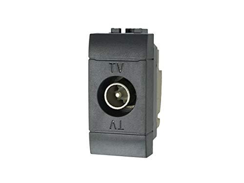 SANDASDON SD82002D-3 Presa TV Passante Connettore Maschio Nero Compatibile Bticino Living