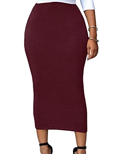 SEBOWEL Jupe Moulante Femme Taille Haute Sexy Jupe Bureau Crayon Mi Longue Vin Rouge XL