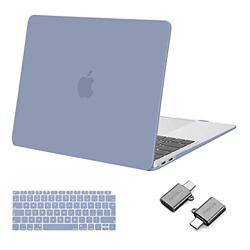 MOSISO MacBook Air 13 inch Case 2020 2019 2018 Release A2337 M1 A2179 A1932, Plastic Hard Shell Case & Keyboard Cover & Type C Adapter 2 Pack Compatible with MacBook Air 13 inch Retina, Lavender Gray