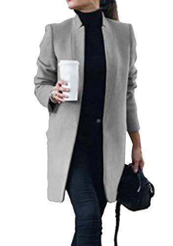 EFOFEI Damen Langarm-Knopfblazer Elegant Einfarbig Winterjacke Einfarbig Tweed Mantel Winter Langarm Slim fit Wollmantel Hellgrau XL
